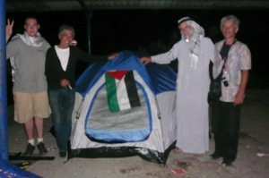 Activists and their tent at the Rafah Border. International Movement to Ope the Rafah Border. June 2009.