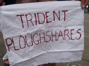 Trident Ploughshares Banner. Photo Frances Laing